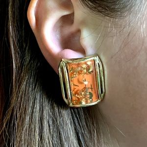 Vintage Coral & Gold Lucite Clip Earrings